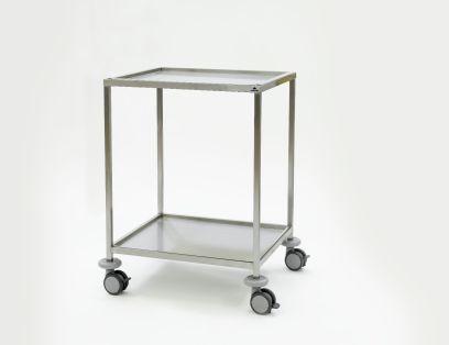 Instrumententafel 750 x 650 x 1000 mm met ingelegd, verzonken bovenblad en gelast onderblad, 4 dubbele wielen ø 100 mm