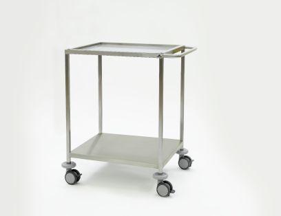 Instrumententafel 750 x 650 x 1000 mm met ingelegd, verzonken bovenblad, gelast onderblad en duwbeugel, 4 dubbele wielen ø 100 mm
