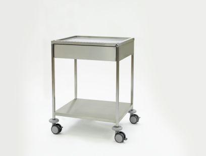 Instrumententafel 750 x 650 x 1000 mm met ingelegd, verzonken bovenblad, lade en gelast onderblad, 4 dubbele wielen ø 100 mm