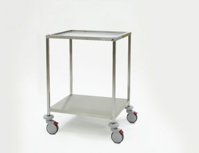 Instrumententafel 750 x 650 x 1035 mm met ingelegd, verzonken bovenblad en gelast onderblad, 4 dubbele wielen ø 125 mm