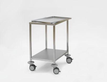 Instrumententafel 650 x 450 x 800 mm met ingelegd, verzonken bovenblad en gelast onderblad, 4 dubbele wielen ø 100 mm