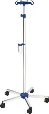 Infuuspaal Verpleegafdeling, roestvrij staal, handschroef verstelbaar 135-215 cm