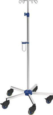 Infuuspaal Intensive Care, roestvrij staal, handschroef verstelbaar 150-245 cm, met verzwaard onderstel