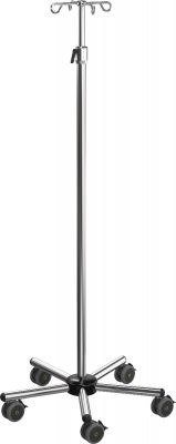 Infuuspaal Premium Care Zwart, roestvrij staal, handschroef verstelbaar 143-226 cm, met verzwaard onderstel
